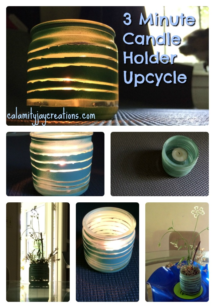 Collage of 3 Minute Candle Holder Upcycle using rubber bands and spray paint