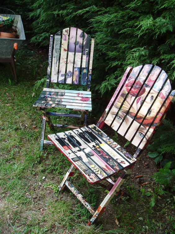 Relax on collaged patio furniture
