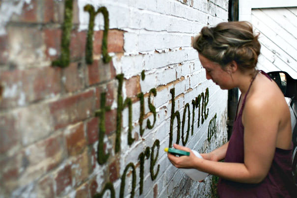 Watering the wall-painted words